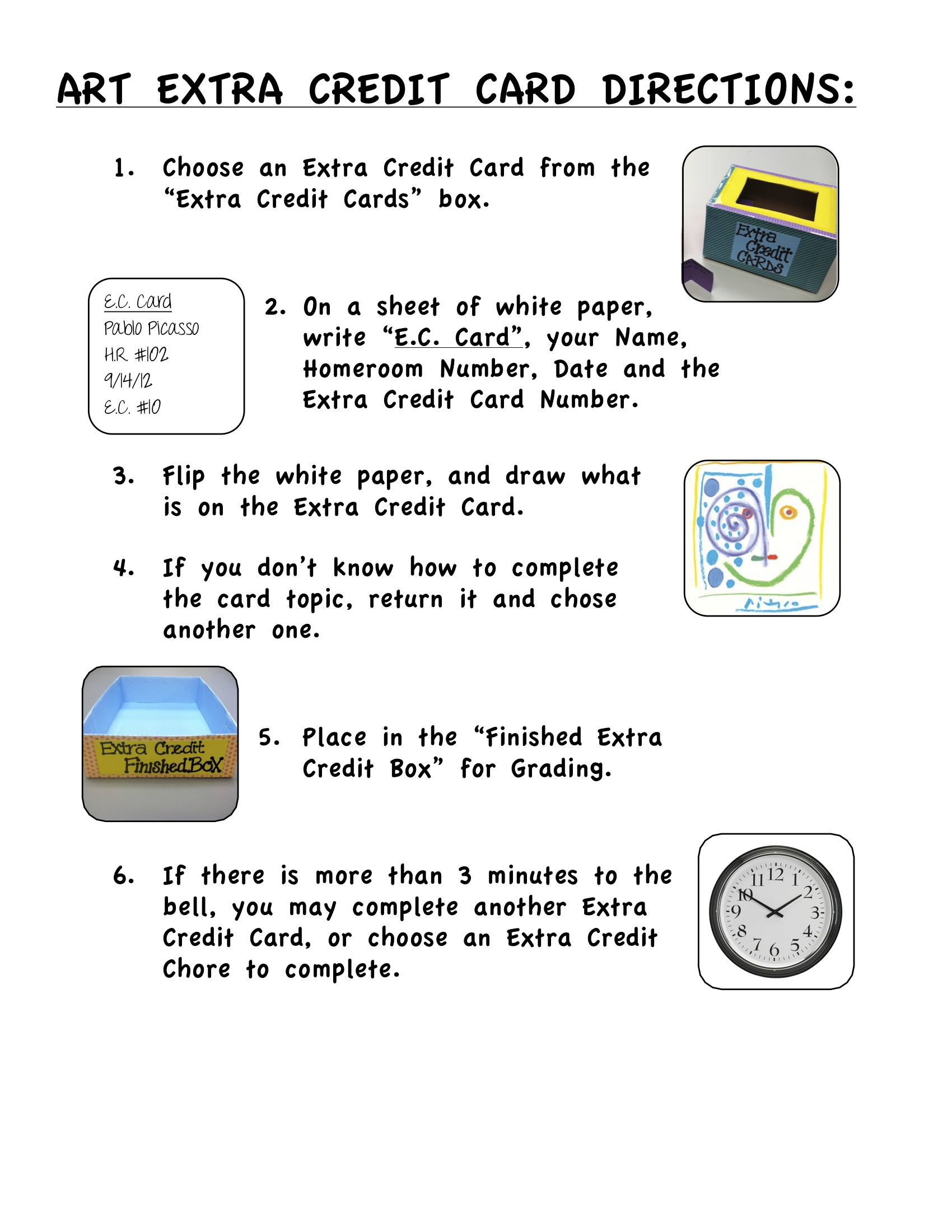 Art Extra Credit Card Directions