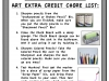 Art Extra Credit Chore List