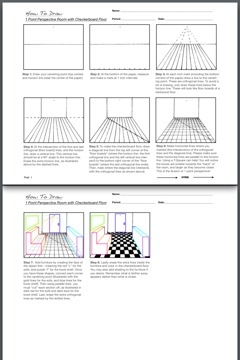 1 Point Perspective Room with a Checkered Floor and Furniture